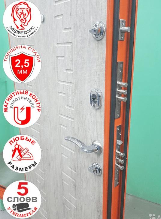 дверь с двумя замками и ночной задвижкой